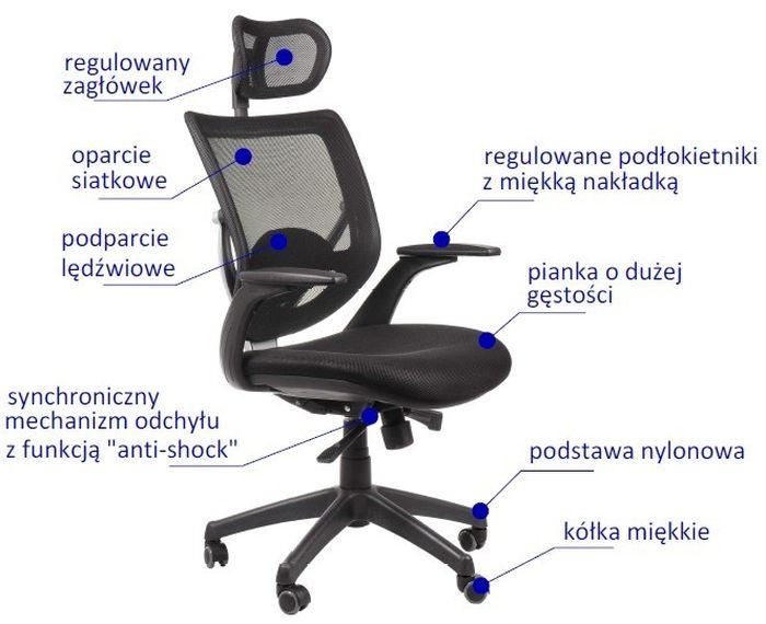 Fotel Biurowy Obrotowy Ef Kb8904 Szary Krzesła Biurowe Obrotowe