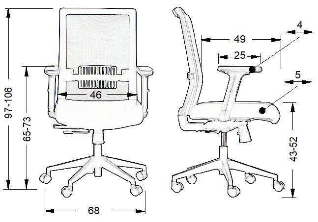 fotel obrotowy Riverton-wymiary