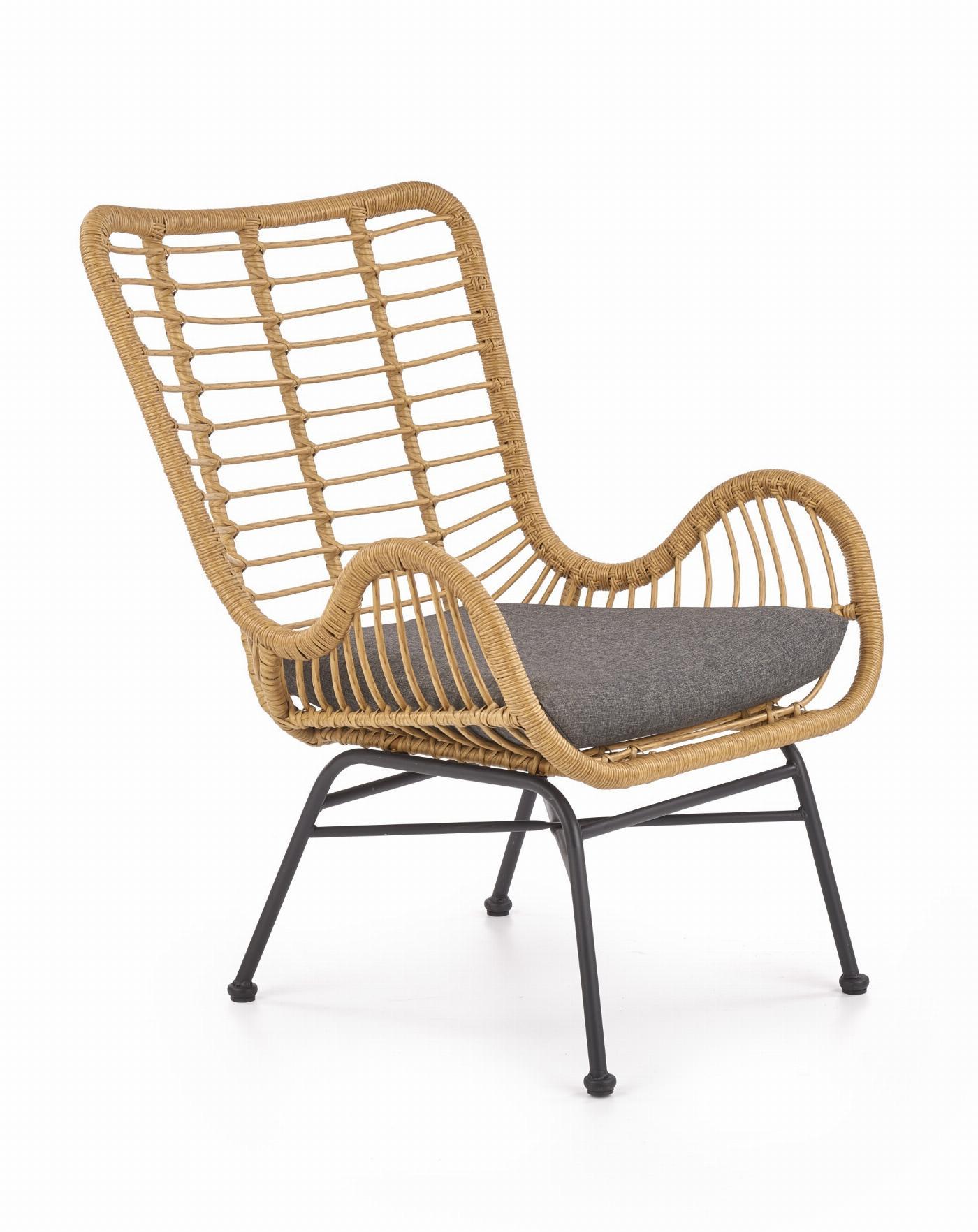 IKARO fotel czarny / naturalny / popielaty