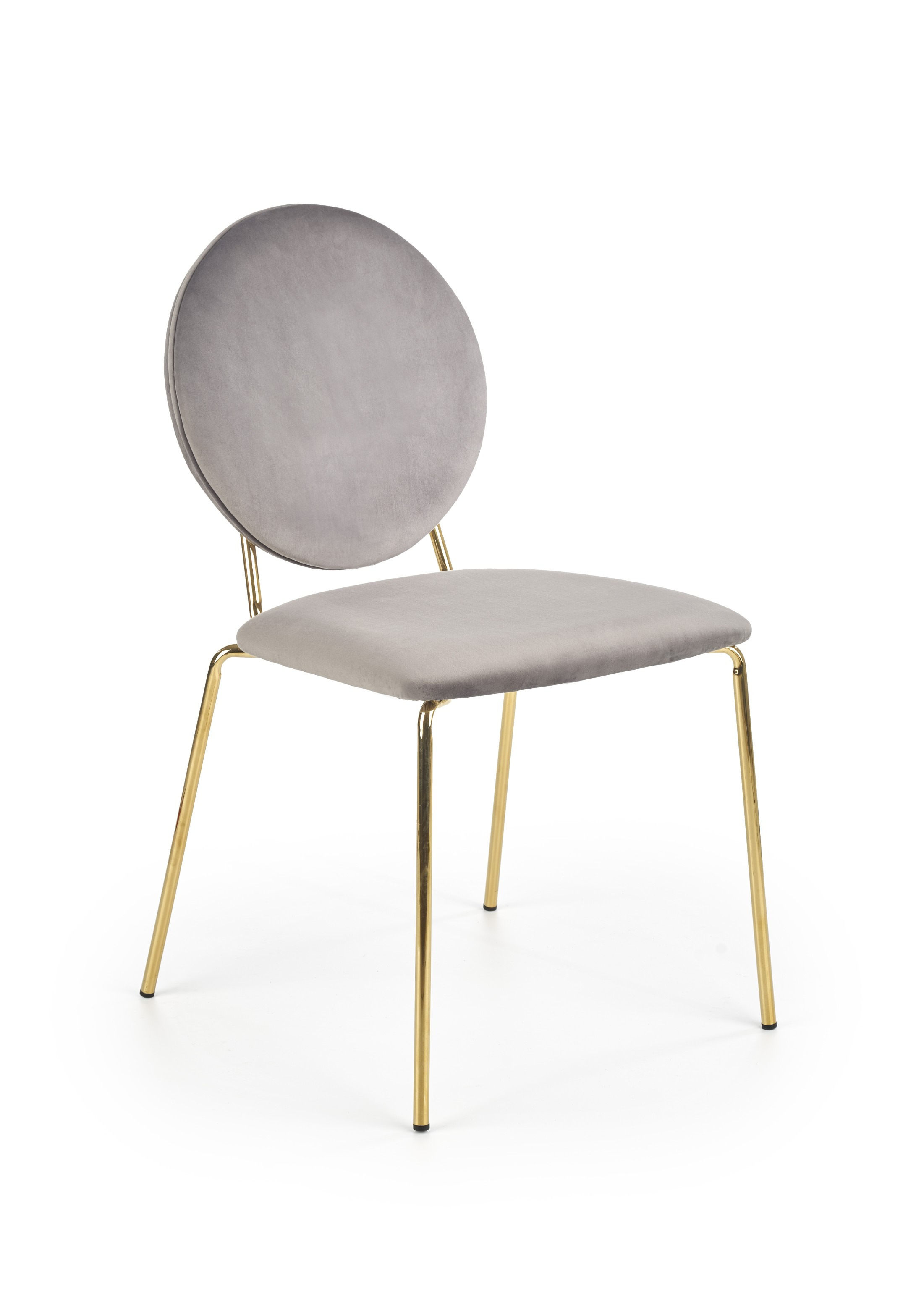K363 krzesło, tapicerka -  popielaty, nogi - złoty