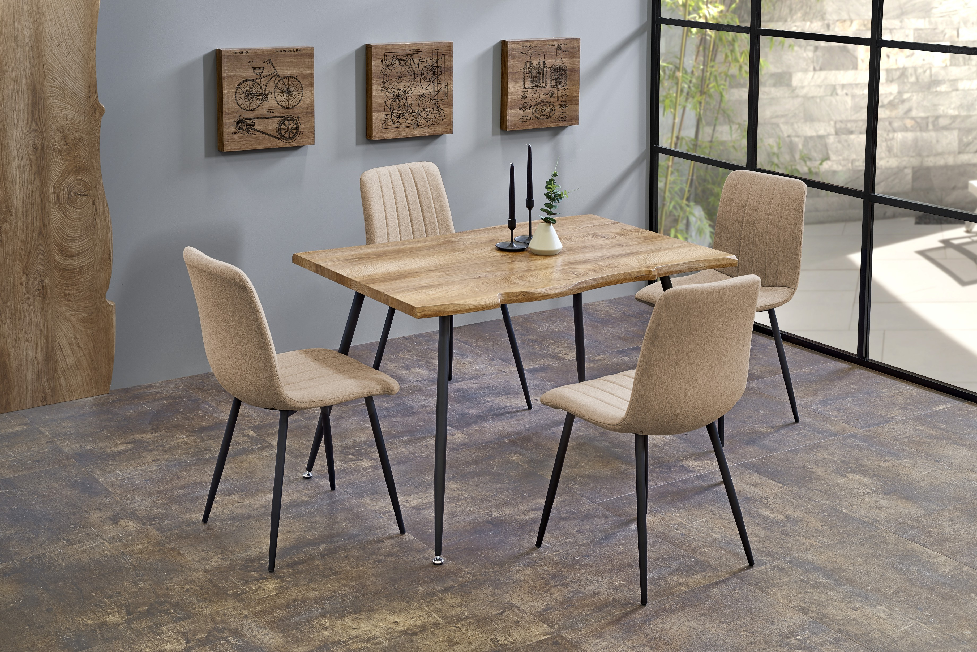 LARSON stół, blat - naturalny, nogi - czarny