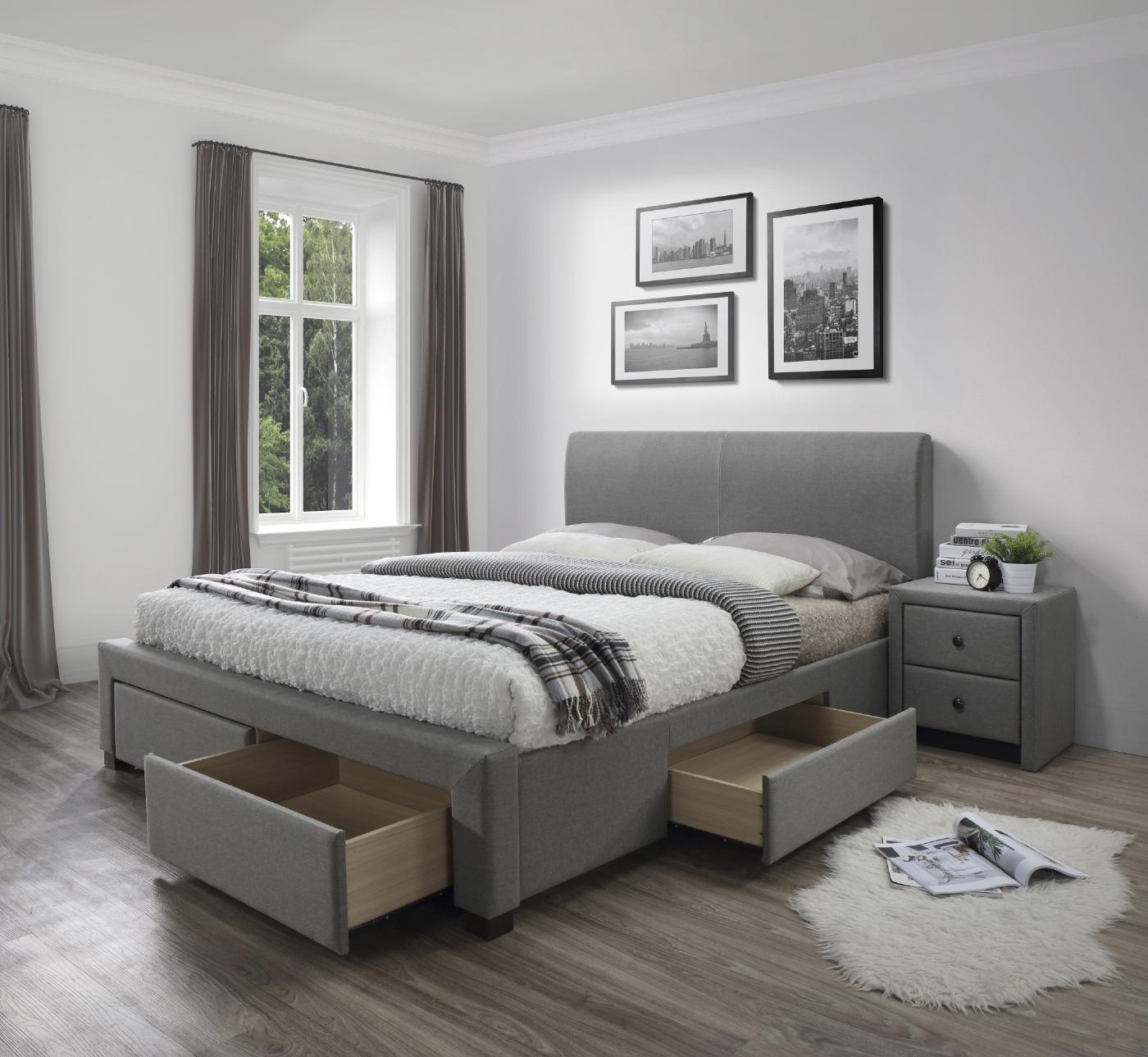 MODENA 180 łóżko z szufladami popiel
