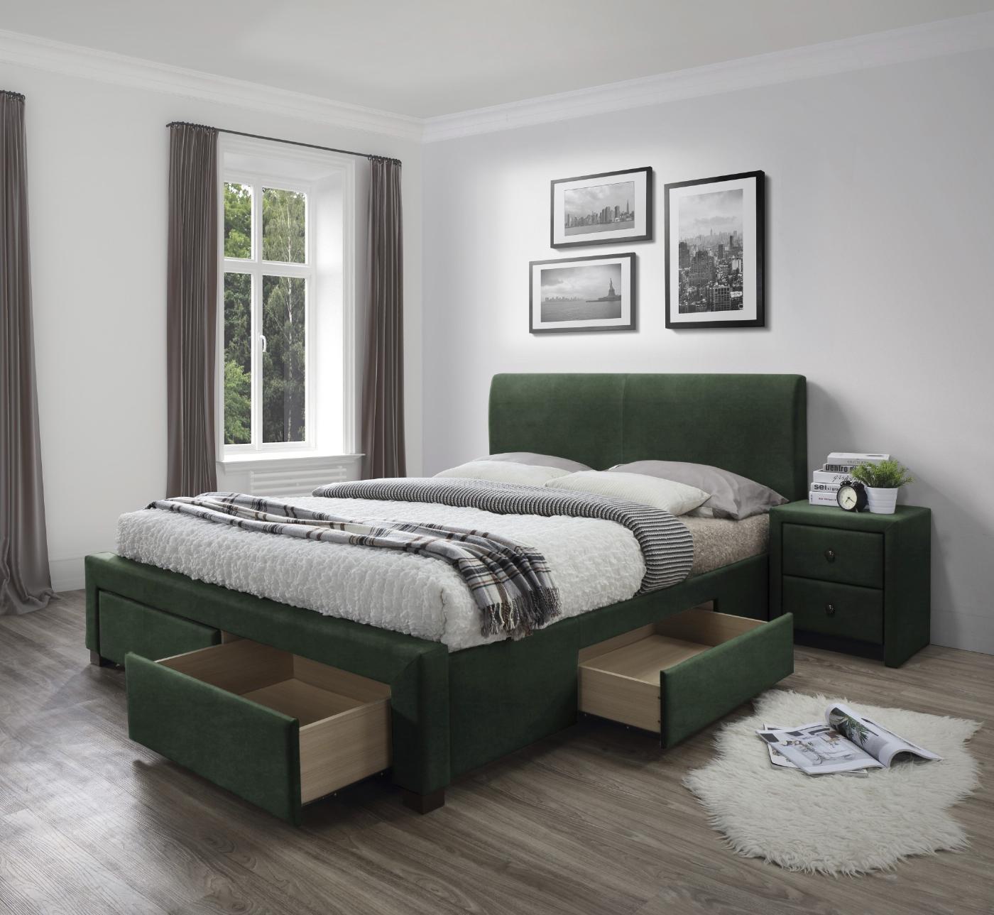 MODENA 3 łóżko z szufladami ciemny zielony velvet
