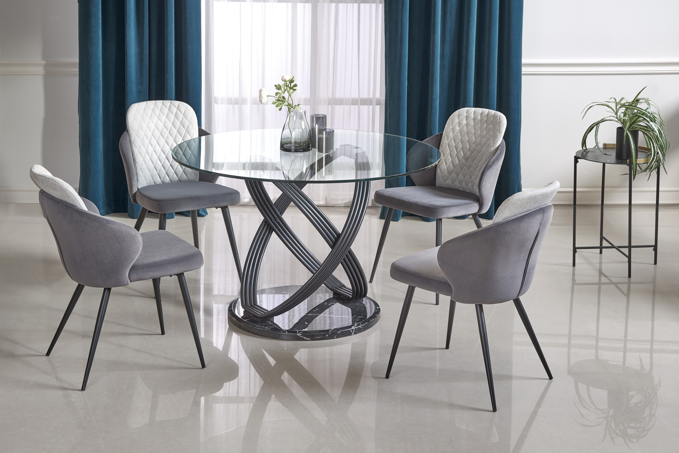 OPTICO stół, blat - transparentny, nogi - czarny