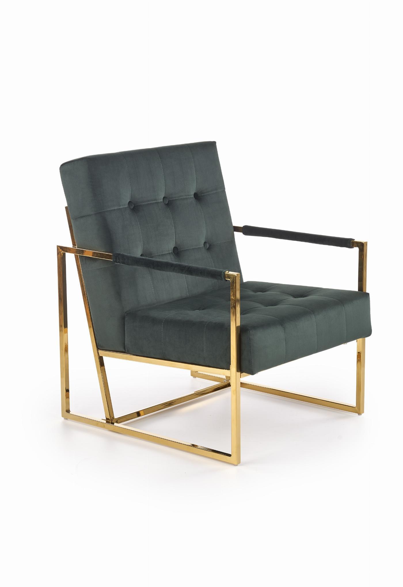 PRIUS fotel wypoczynkowy, tapicerka - ciemny zielony, stelaż - złoty