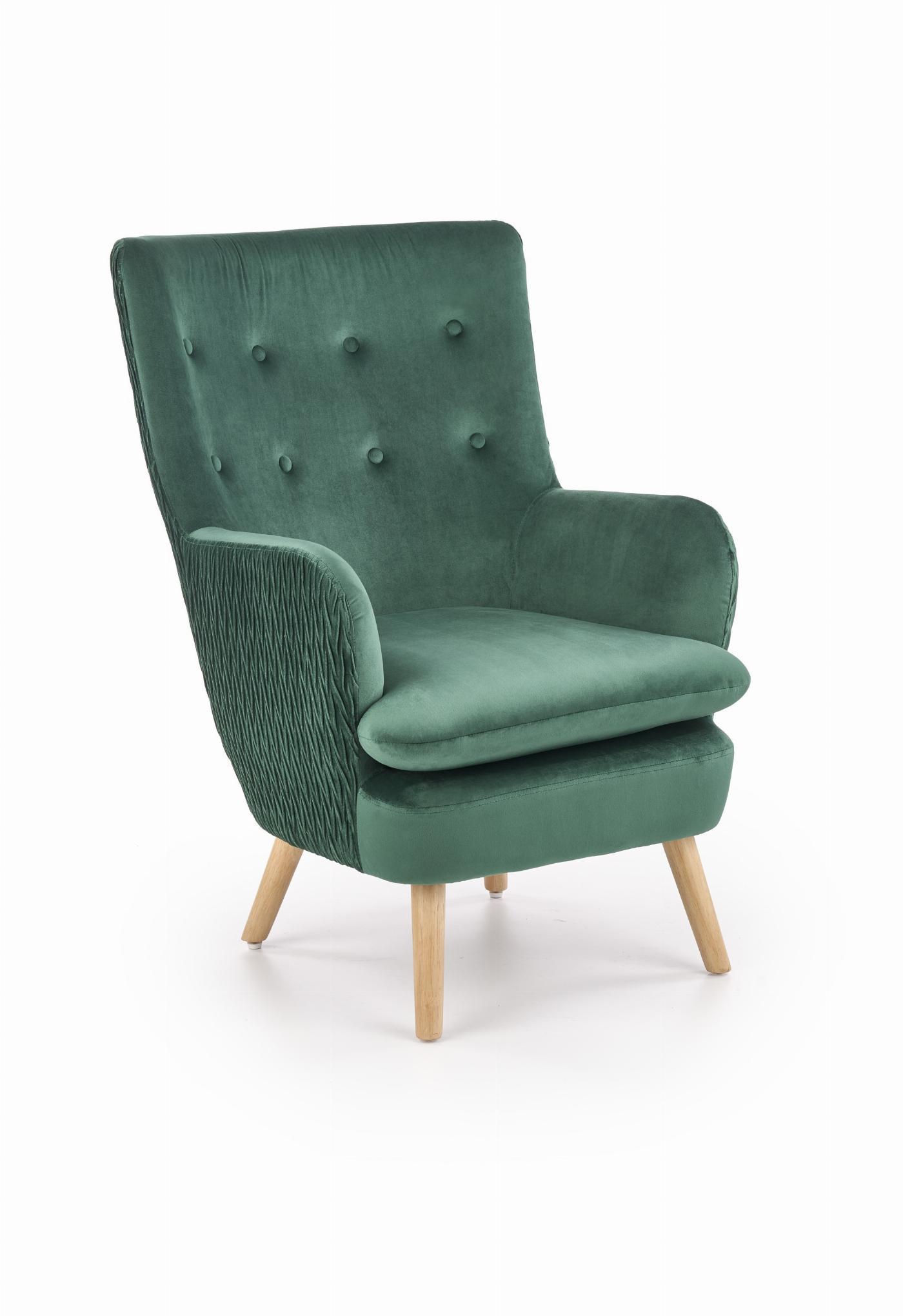 RAVEL fotel wypoczynkowy ciemny zielony / naturalny