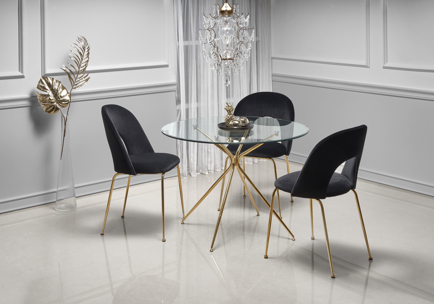 RONDO stół, blat - bezbarwny, nogi - złoty