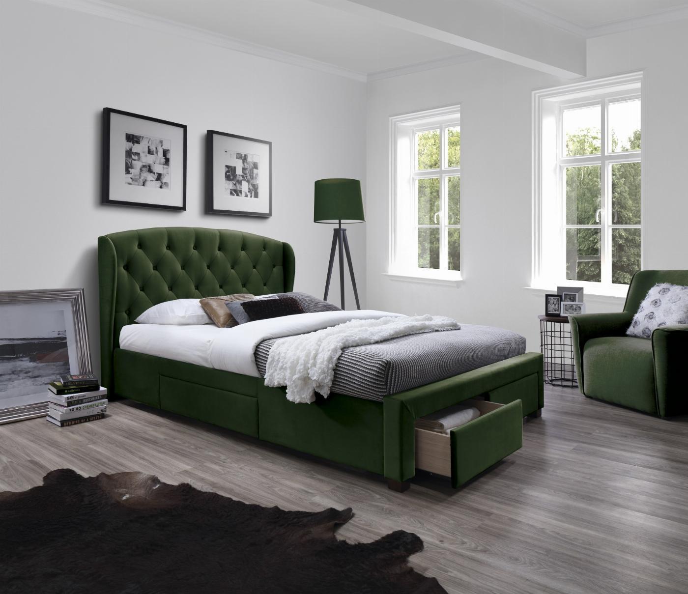 SABRINA łóżko z szufladami ciemny zielony (6p=1szt)