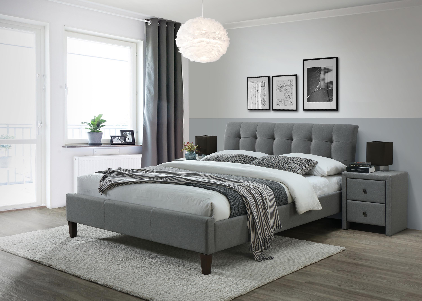 SAMARA 2 160 łóżko tkanina popiel (2p=1szt.)