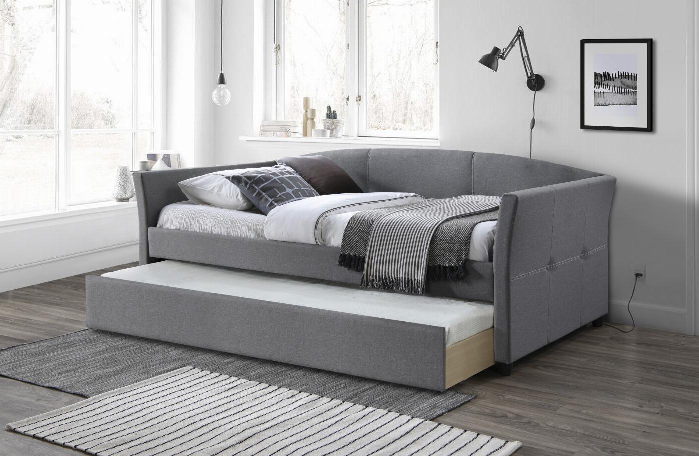 SANNA łóżko dwuosobowe z wysuwanym dolnym materacem popielaty