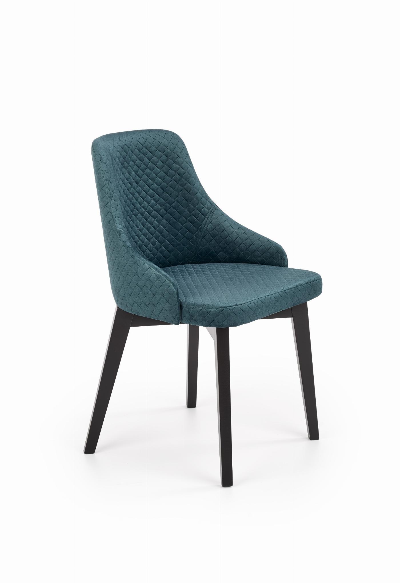 TOLEDO 3 krzesło czarny / tap. velvet pikowany Karo 4 - MONOLITH 37 (ciemny zielony) (1p=1szt)