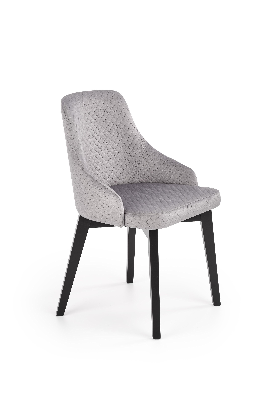 TOLEDO 3 krzesło czarny / tap. velvet pikowany Karo 4 - MONOLITH 85 (jasny popiel) (1p=1szt)