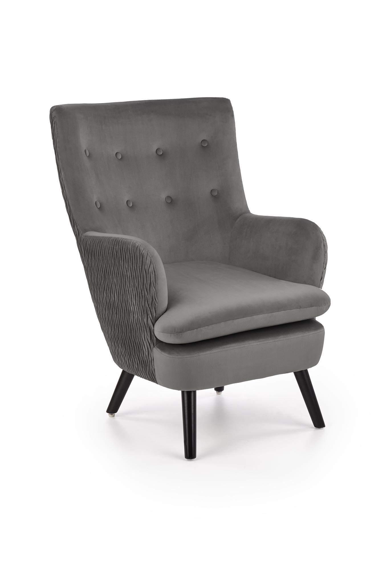 RAVEL fotel wypoczynkowy popielaty / czarny