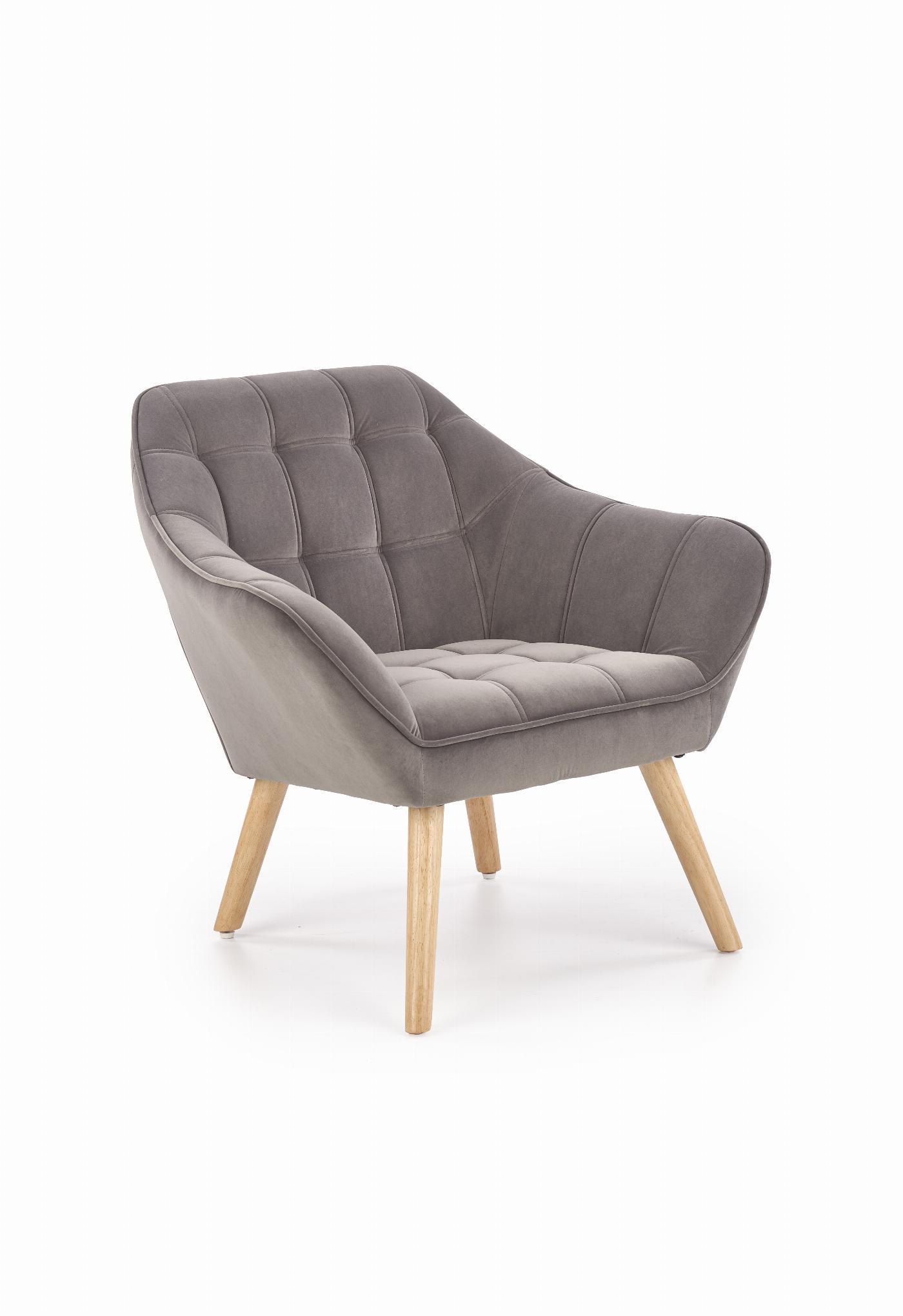 ROMEO fotel wypoczynkowy popielaty / naturalny