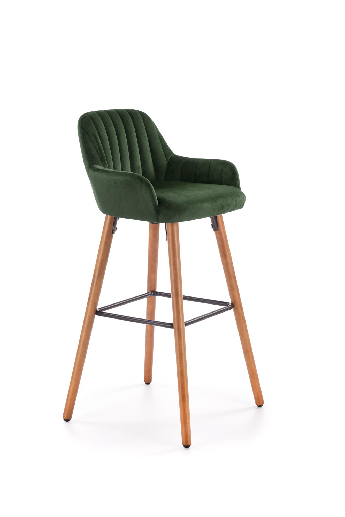 H93 hoker nogi - orzech, tapicerka - c. zielony