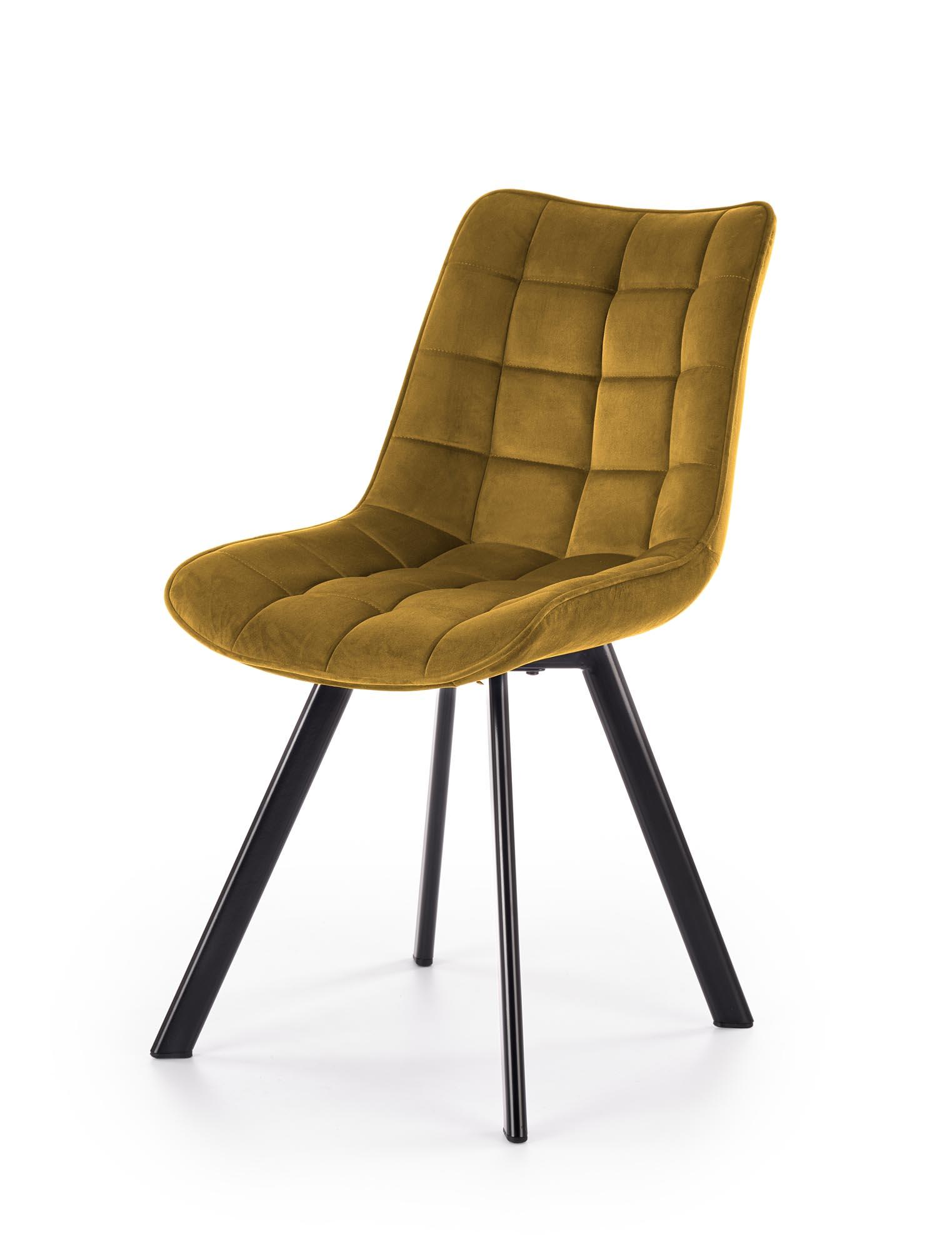 K332 krzesło nogi - czarne, siedzisko - musztardowy (1p=2szt)