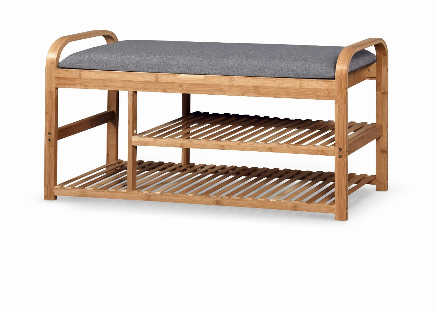 ST13 ławka / stojak na buty bambus - popielaty