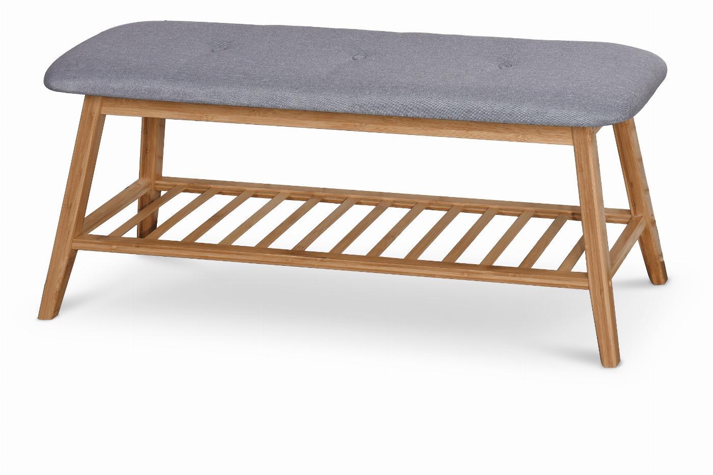 ST15 ławka / stojak na buty bambus - popielaty