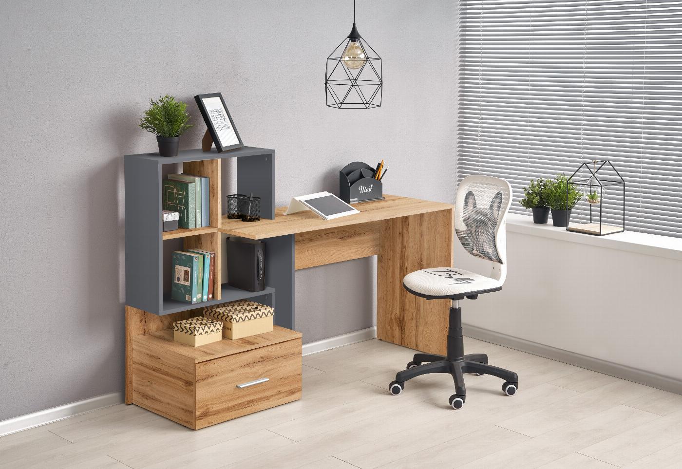 GROSSO biurko dąb wotan / antracyt (1p=1szt)