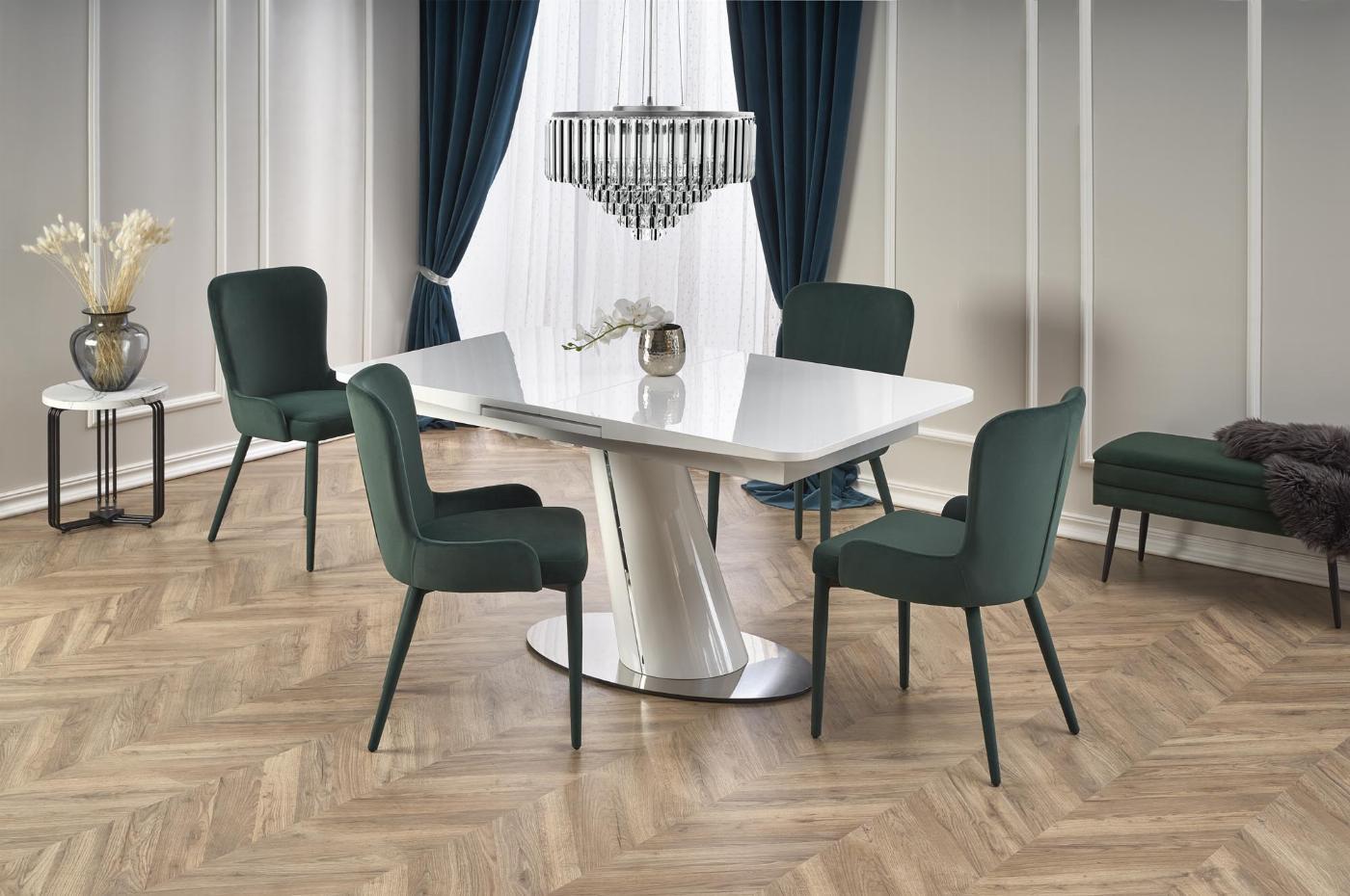 ODENSE stół rozkładany, kolor: blat - biały podstawa - biały