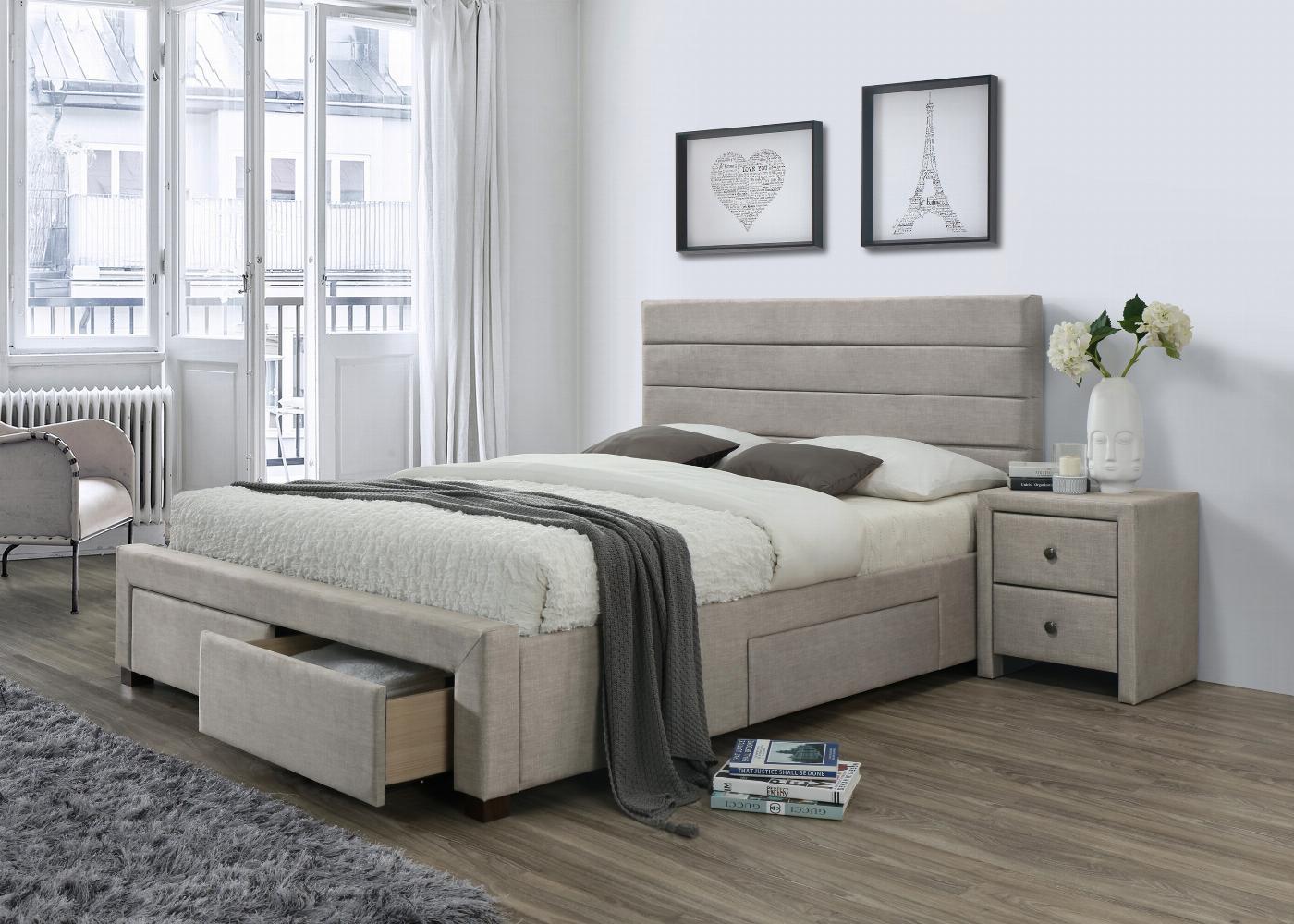 KAYLEON łóżko z szufladami beżowy (6p=1szt)