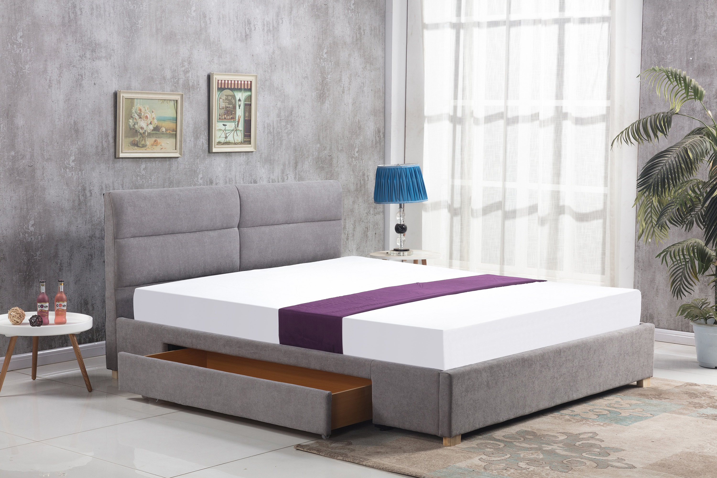 MERIDA łóżko z szufladą jasny popiel (2p=1szt)