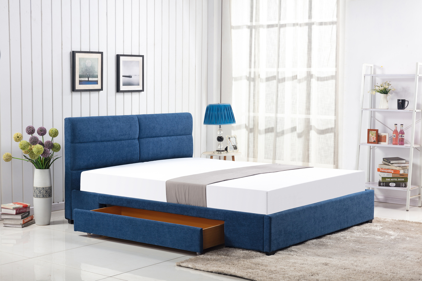 MERIDA łóżko z szufladą niebieski (2p=1szt)