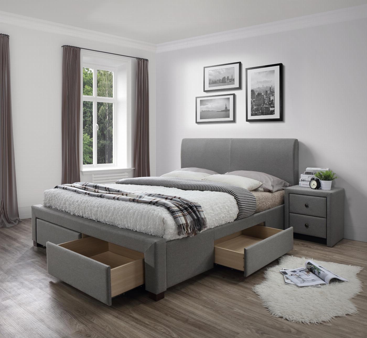 MODENA 140 cm łóżko tapicerowane z szufladami popiel (6p=1szt)