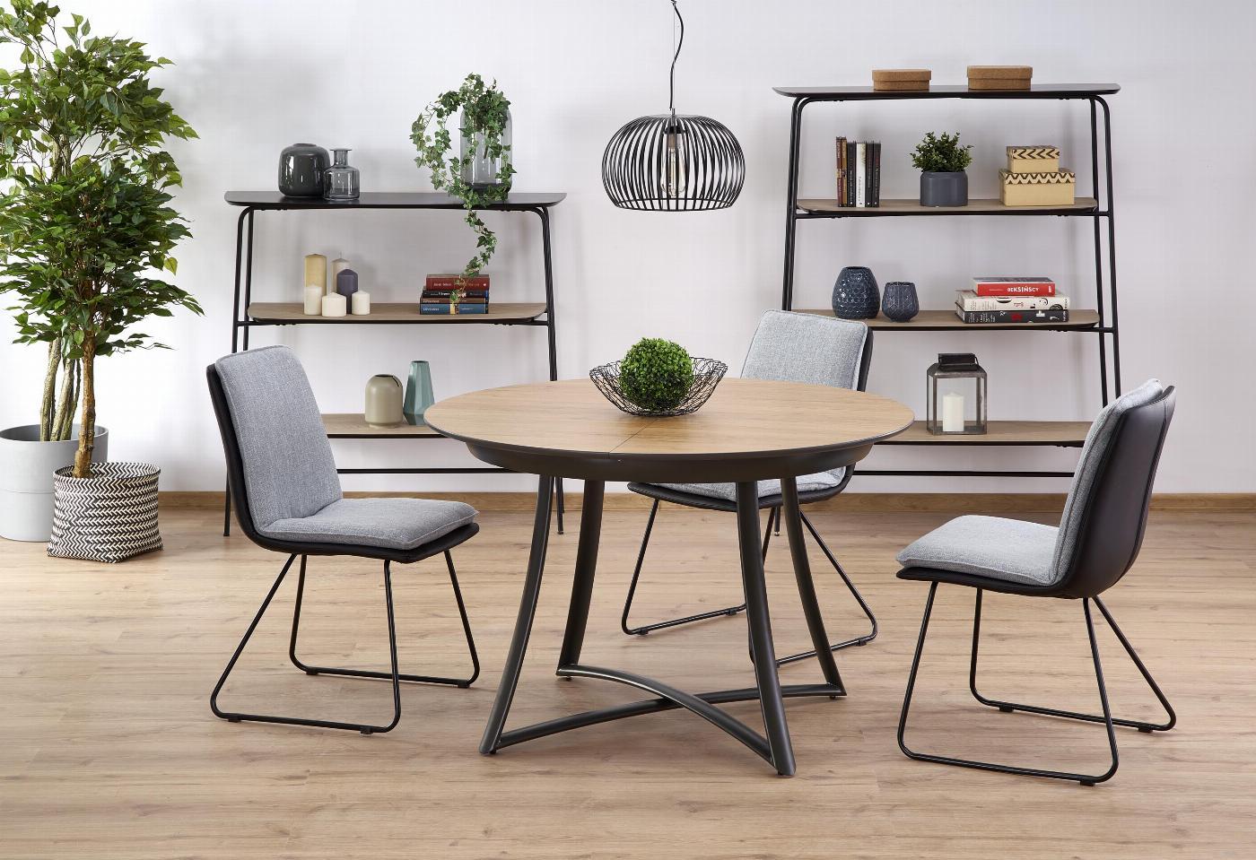 MORETTI stół rozkładany blat - dąb złoty / popielaty, nogi - antracyt (2p=1szt)
