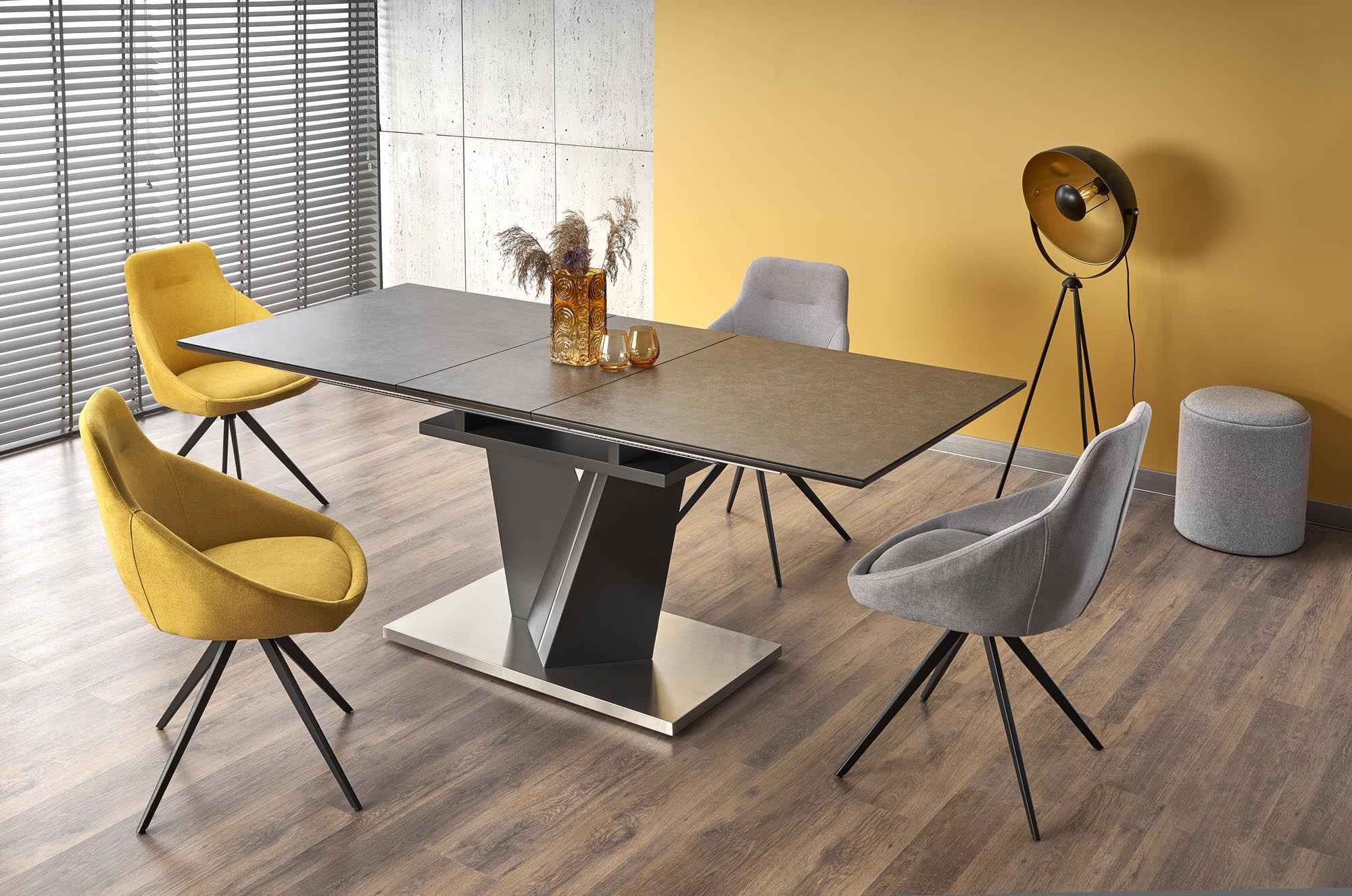 SALVADOR stół rozkładany kolor: blat - ciemny popiel, nogi - ciemny popiel