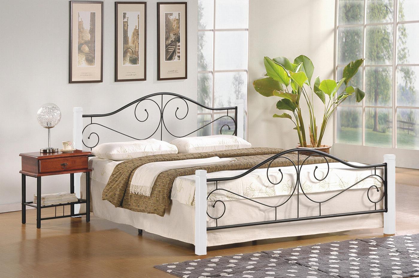 VIOLETTA 160 cm łóżko biały / czarny (3p=1szt) ze stelażem