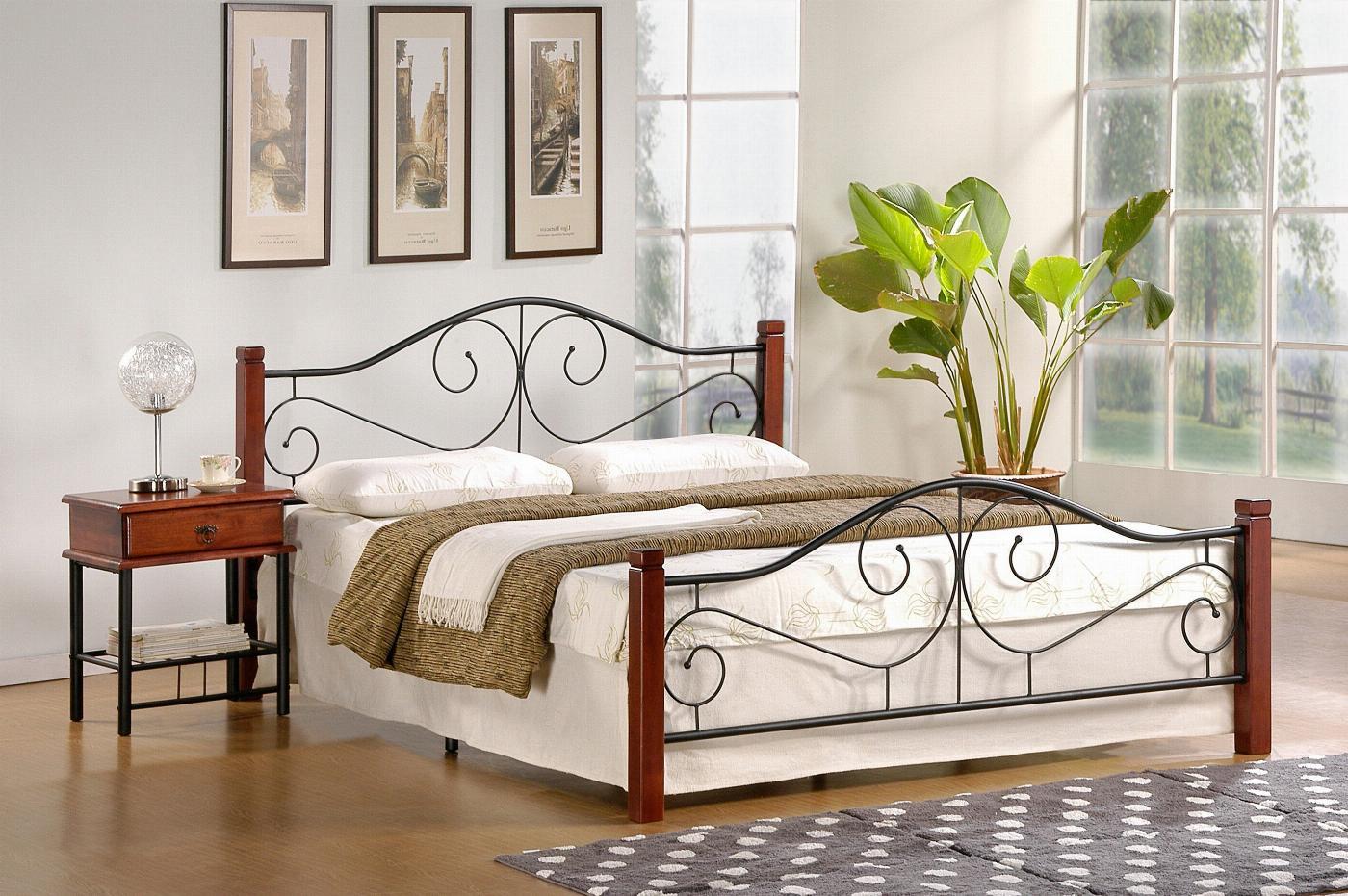 VIOLETTA 160 cm łóżko czereśnia ant./czarny (3p=1szt) ze stelażem