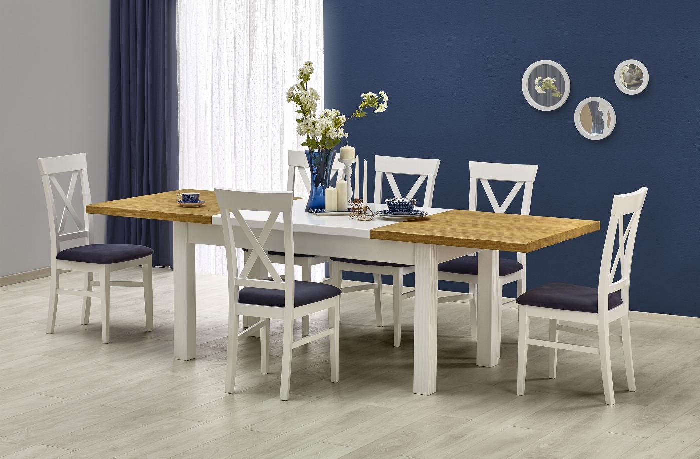 LEONARDO stół biały / dąb miodowy (1p=1szt)