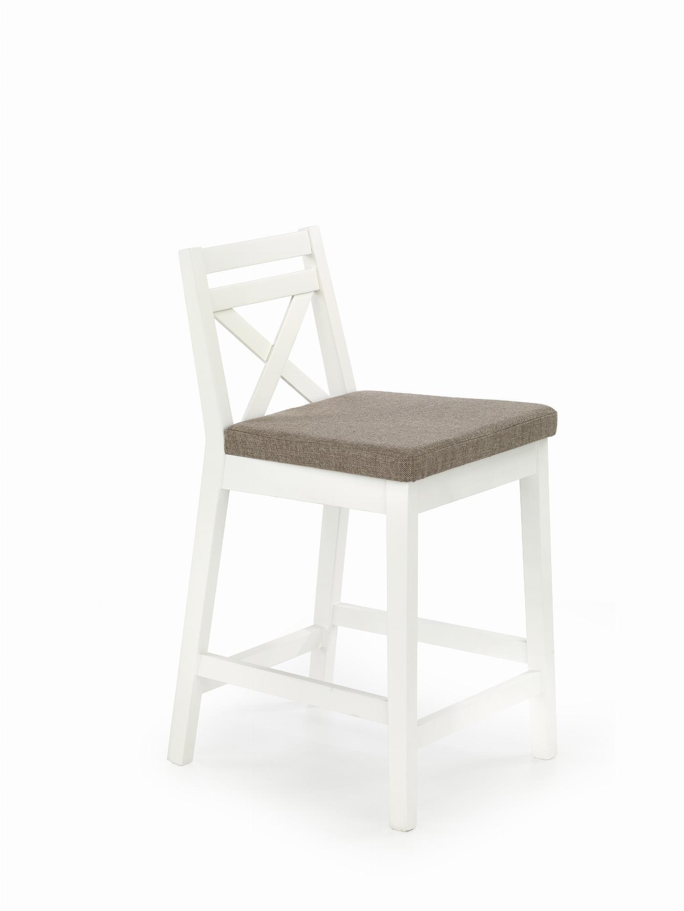 BORYS LOW krzesło barowe niskie biały / tap. Inari 23 (1p=1szt)