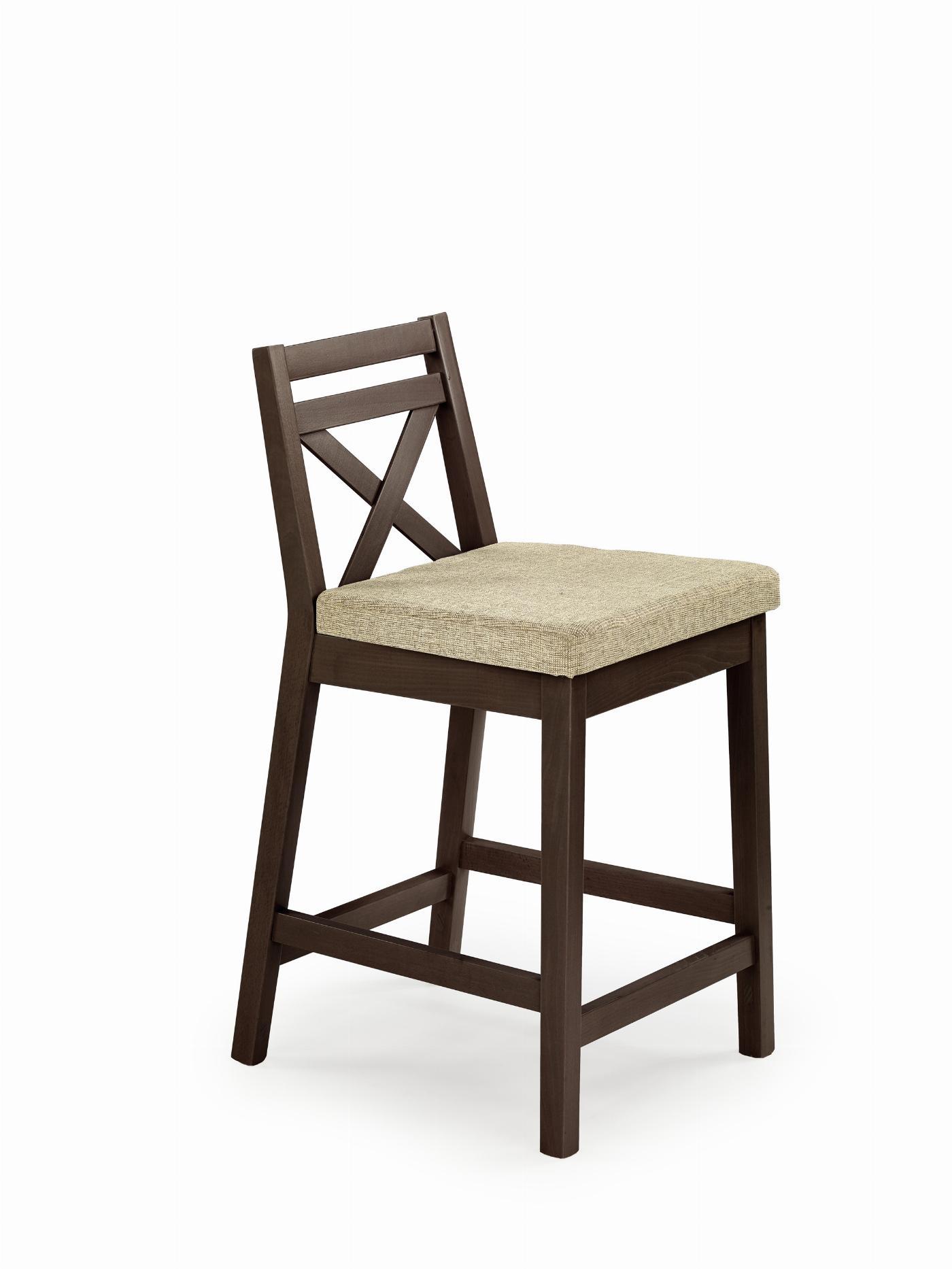 BORYS LOW krzesło barowe niskie ciemny orzech / tap. Vila 2 (1p=1szt)