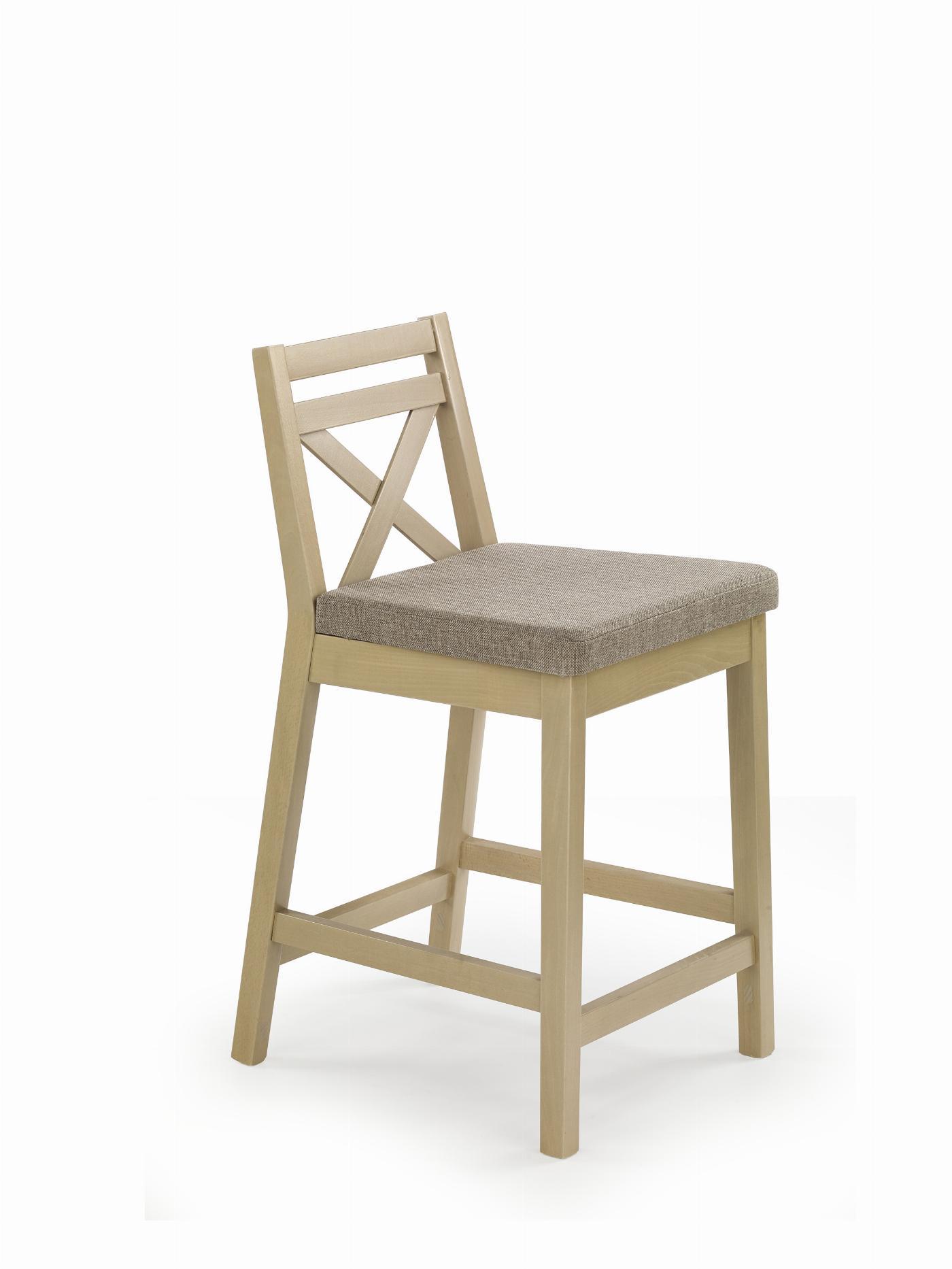 BORYS LOW krzesło barowe niskie dąb sonoma / tap. Inari 23 (1p=1szt)