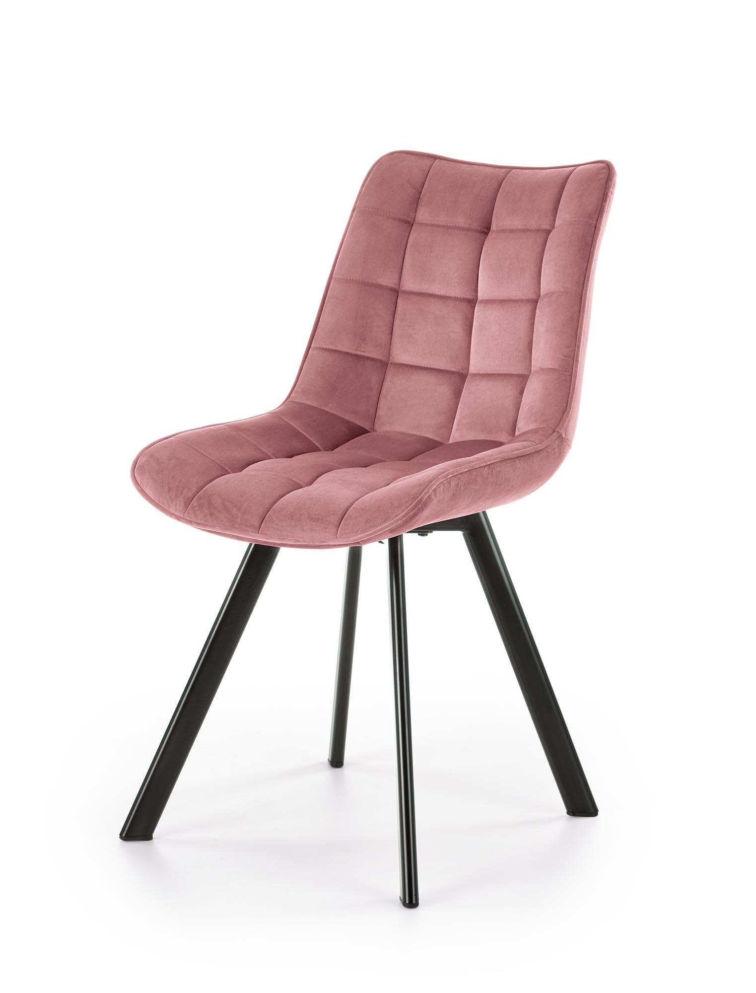 K332 krzesło nogi - czarne, siedzisko - różowy (1p=2szt)