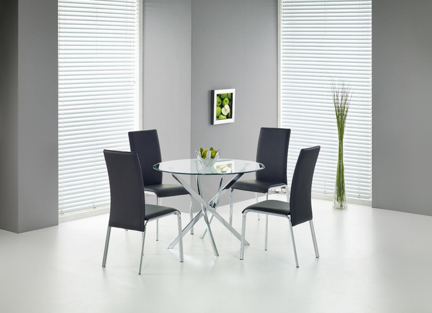 RAYMOND stół, blat - transparentny, nogi - chrom (2p=1szt)