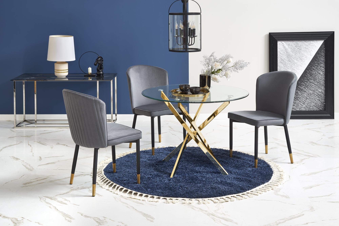 RAYMOND stół, blat - transparentny, nogi - złoty (2p=1szt)