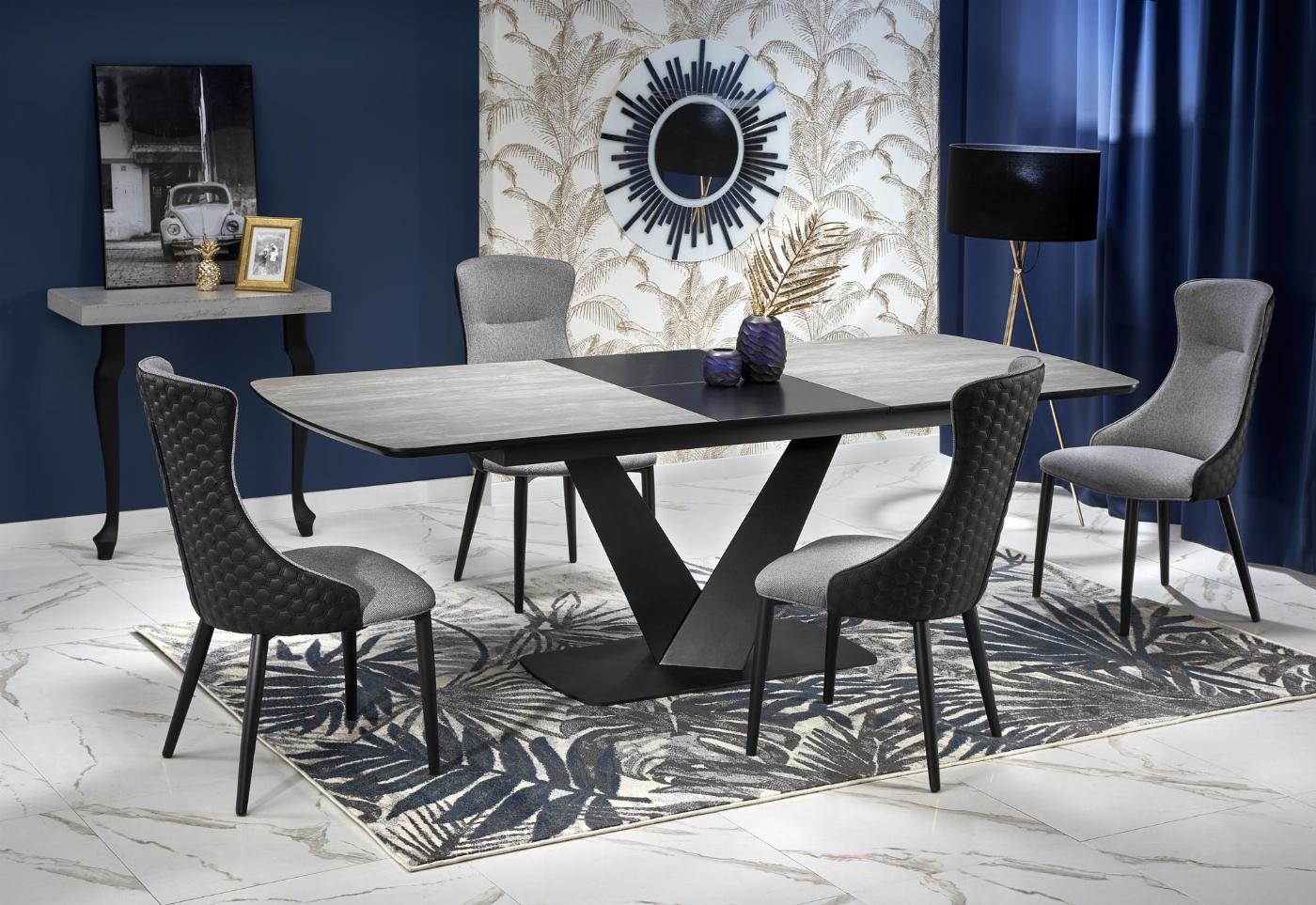 VINSTON stół rozkładany, blat - ciemny popiel / czarny, nogi - czarny