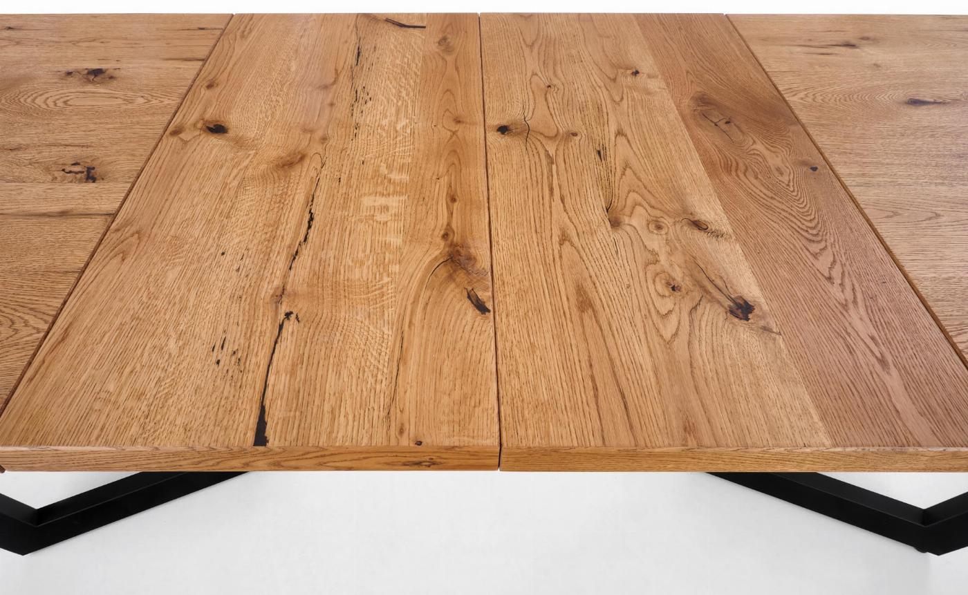 MASSIVE stół rozkładany 160-250x90x77 cm jasny dąb/czarny