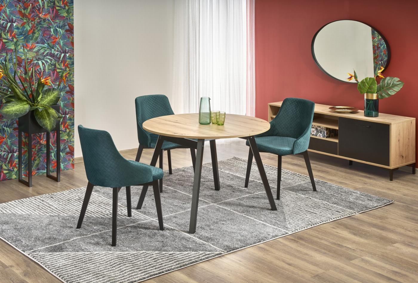 RUBEN stół kolor blat - dąb artisan, nogi - czarny (102-142x102x75 cm) (2p=1szt)
