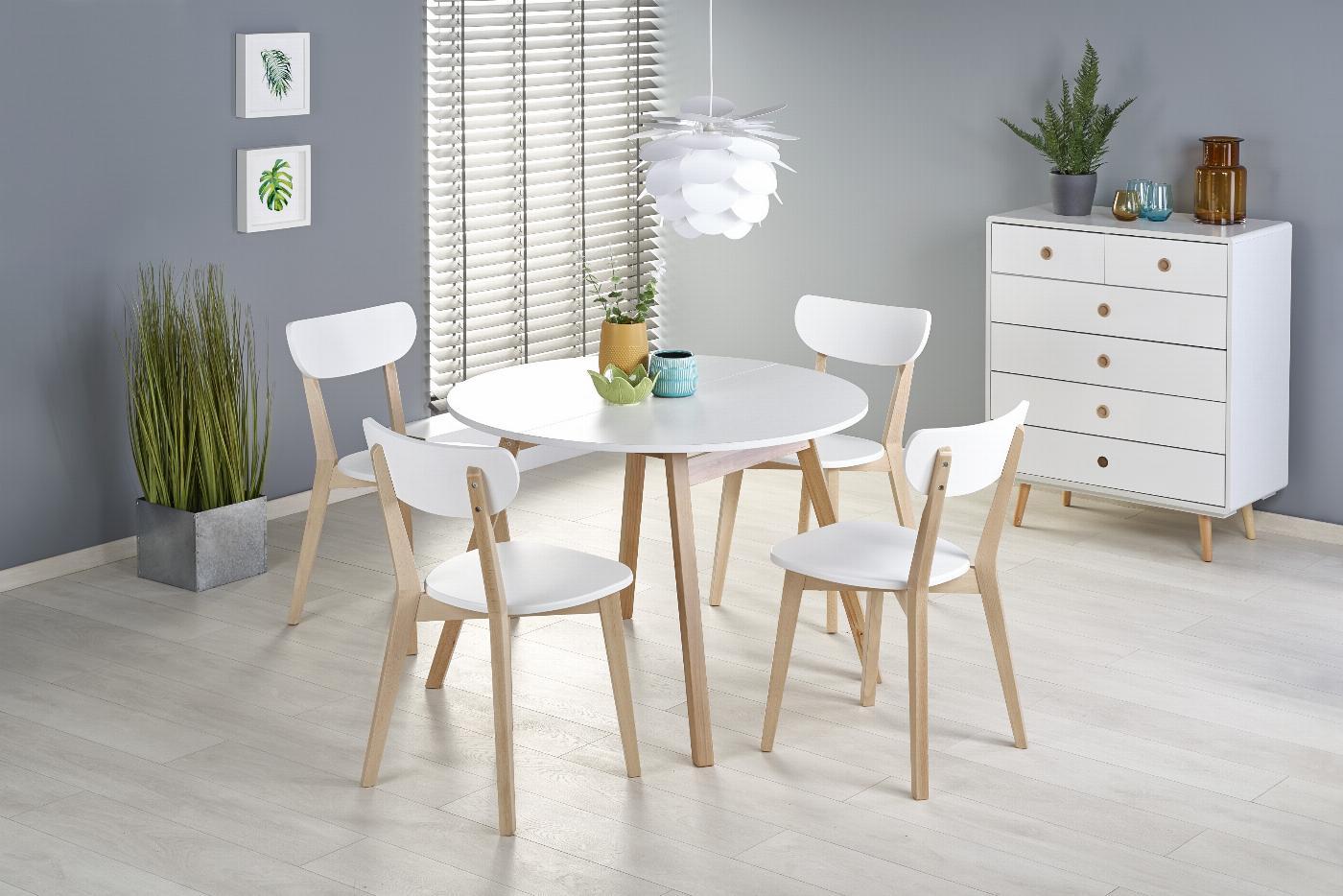 RUBEN stół kolor blat - biały, nogi - naturalny (102-142x102x75 cm) (2p=1szt)