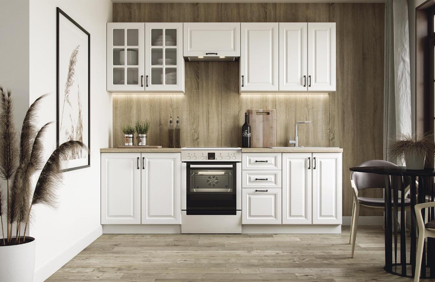 ELIZABETH 240 kuchnia zestaw korpus: biały, front: biały mat (12p=1kpl)