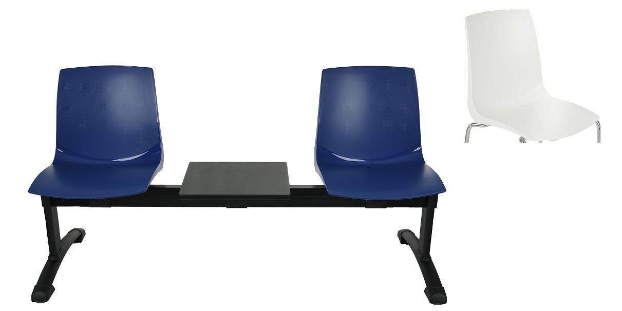 Ławka ARI 3T 2 osobowa + stolik - biała