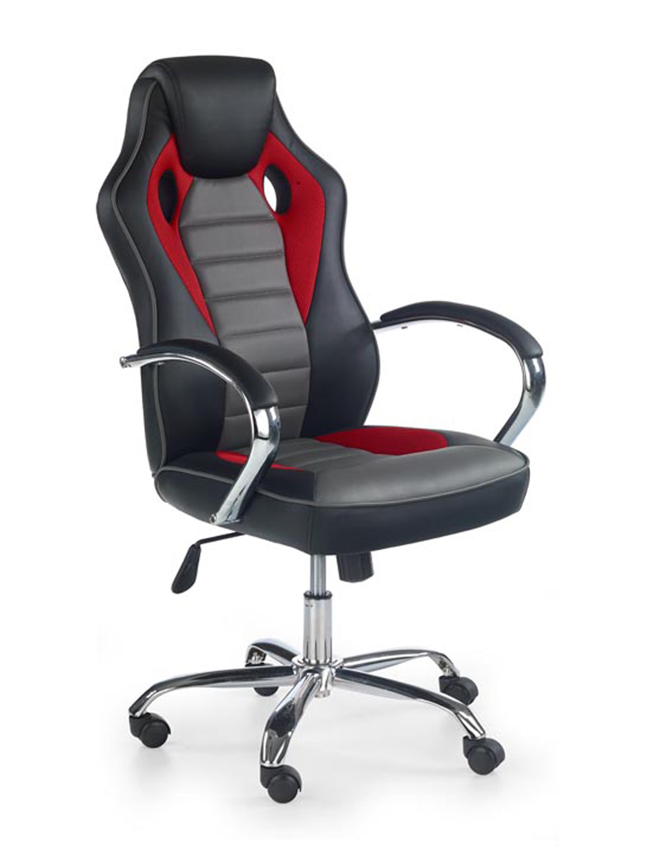 SCROLL fotel gabinetowy czarny / czerwony / popielaty