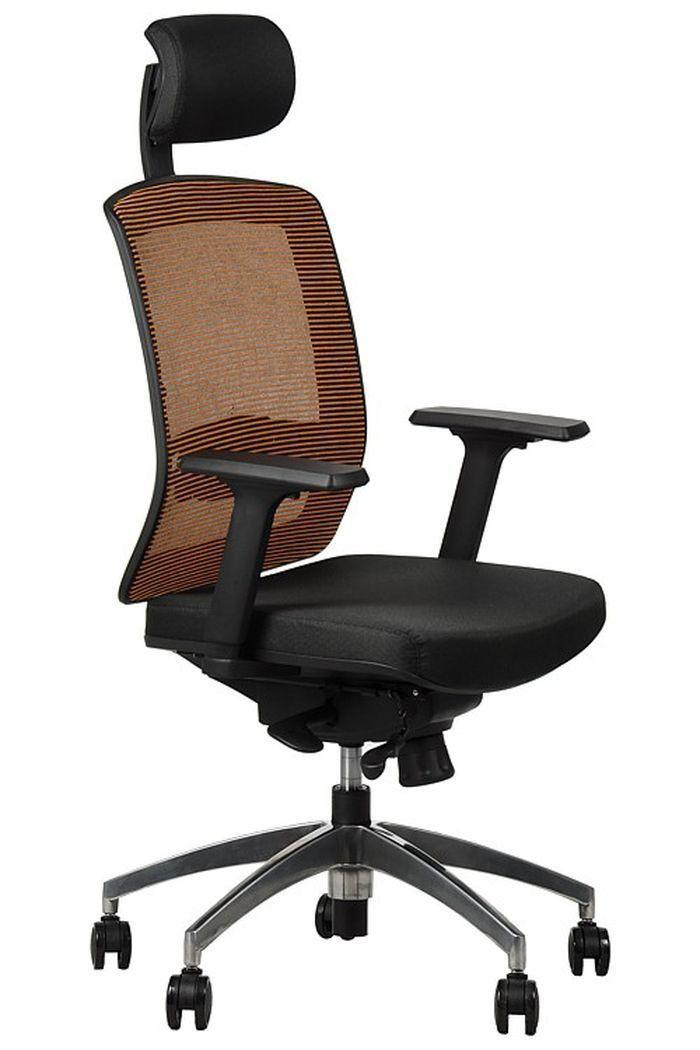 Fotel biurowy obrotowy EF-GN301 alu z wysuwem siedziska - pomarańczowy