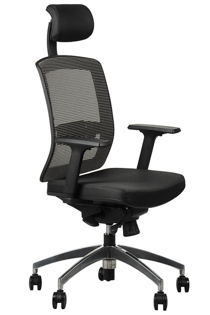 Fotel biurowy obrotowy EF-GN301 alu z wysuwem siedziska - szary