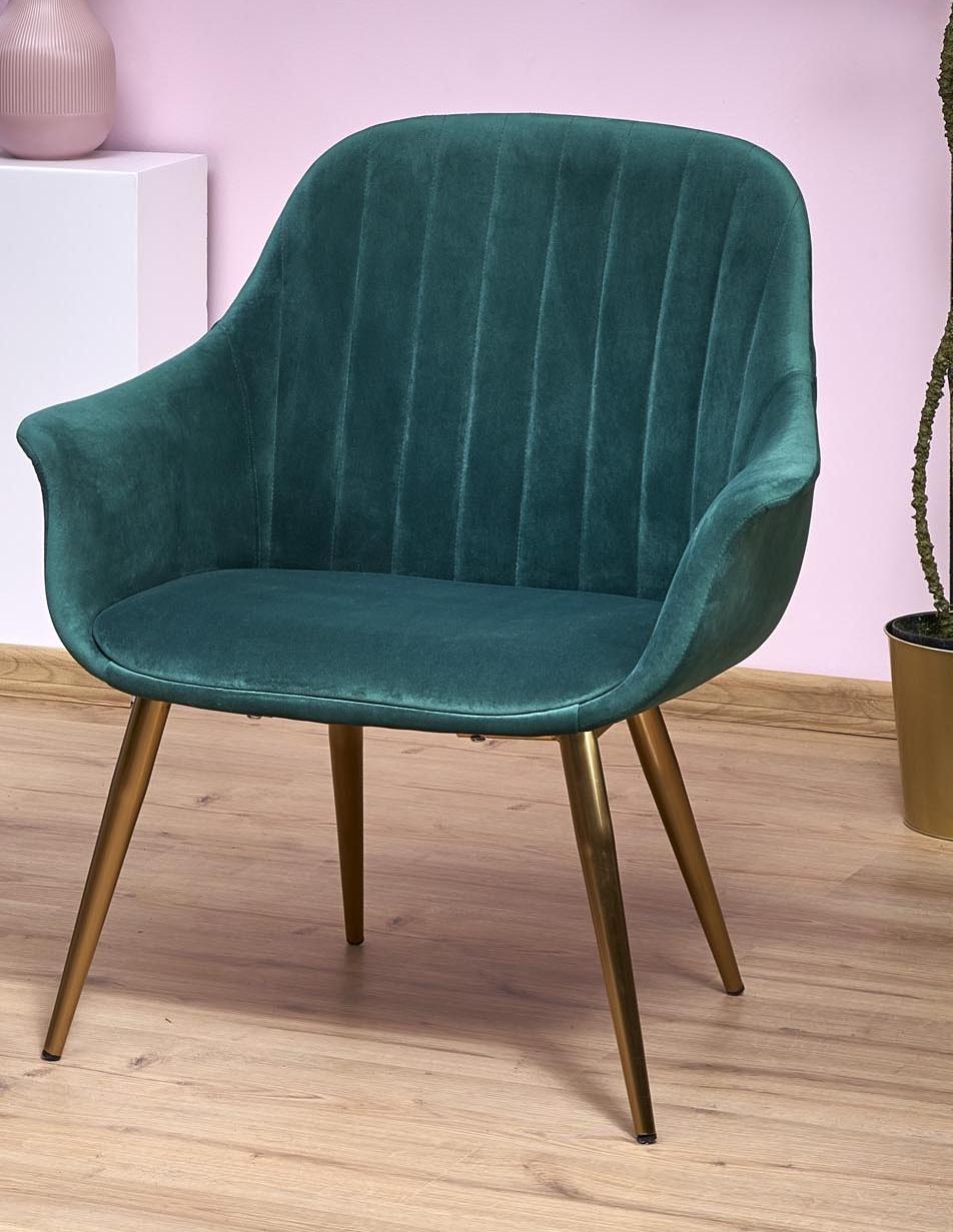 ELEGANCE 2 fotel wypoczynkowy tapicerka - ciemny zielony, nogi - złote
