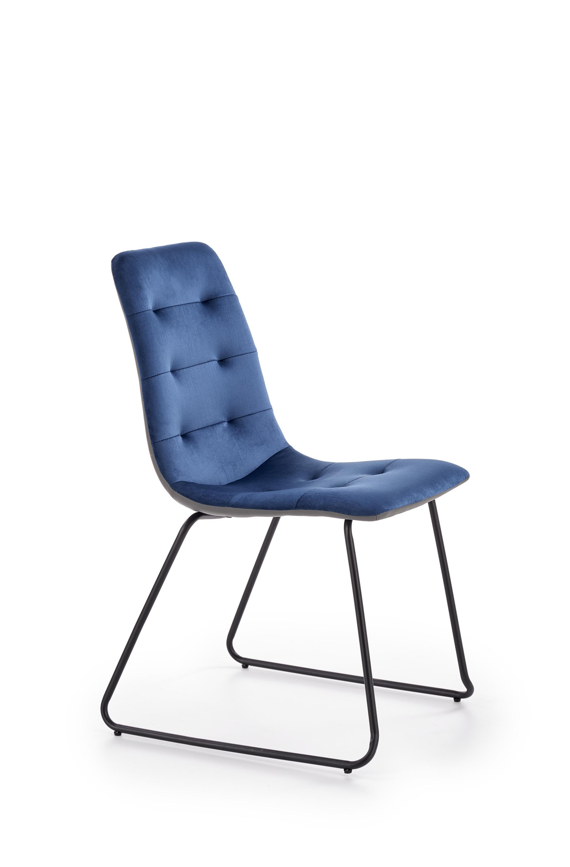 K321 krzesło stelaż - czarny, tapicerka - granatowy / popielaty